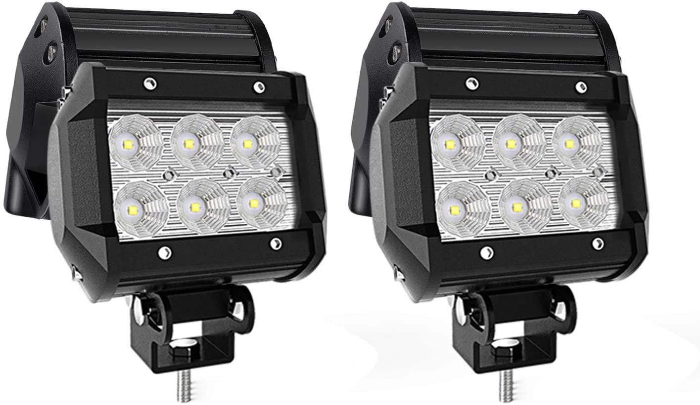 QUAKEWORLD LED Pods Light Bar 4-Inch 18-watt 1800-lumen Driving Fog Off Road Lights Waterproof Flood Beam LED Cubes Lights for Pickup Truck ATV UTV SUV Boat, 4 Pack