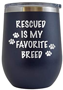 Rescued is My Favorite Breed - Engraved 12 oz Stemless Wine Tumbler Cup Glass Etched - Funny Birthday Gift Ideas for him, her, mom, dad, husband, wife (Navy - 12 oz)