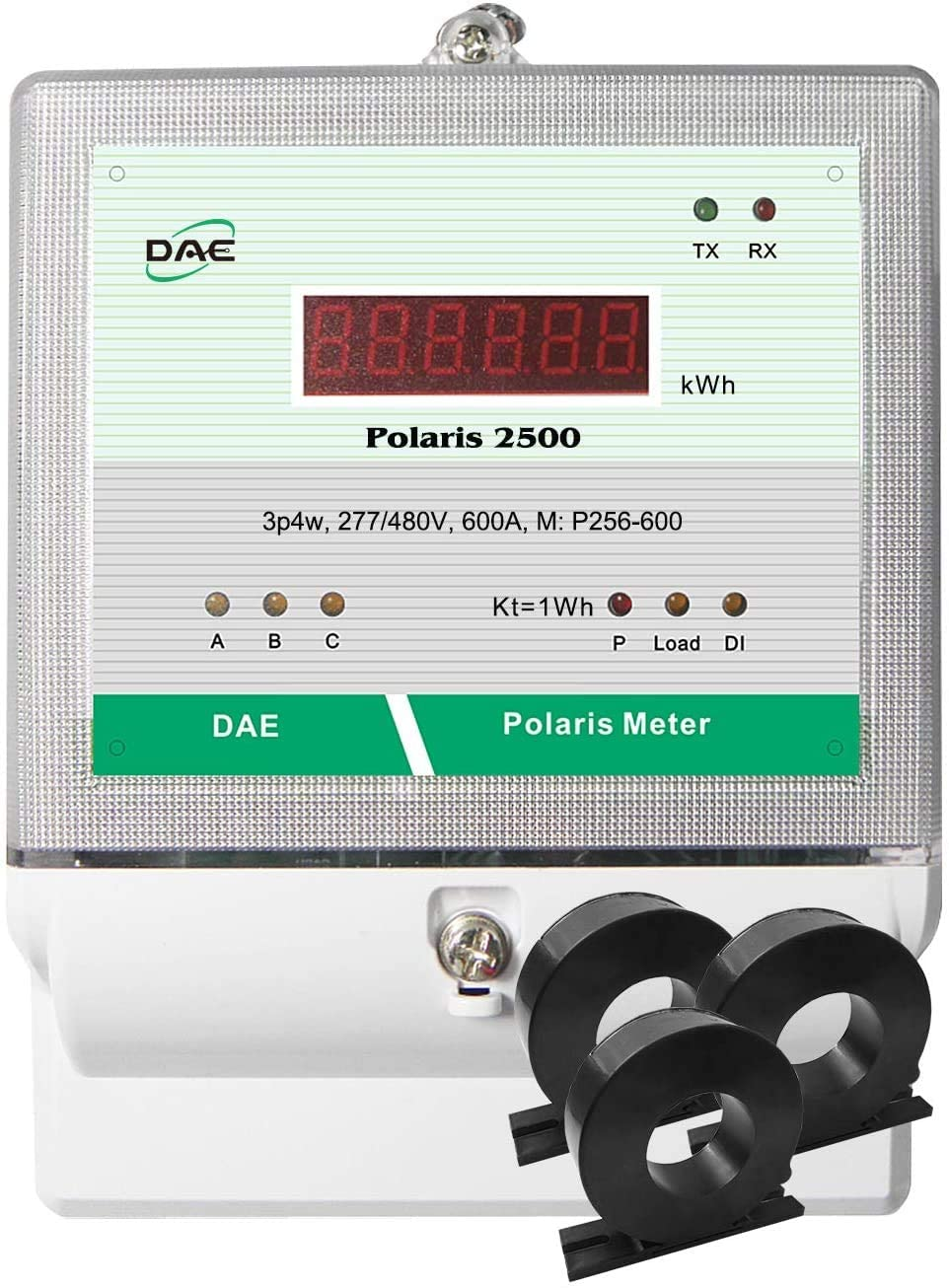 DAE P256-600-S KIT, 600A, 277/480v, UL kWh Smart Submeter, 3P4W (3 hot wire,1 Neutral), 3 CTs (inner dia. 1.38