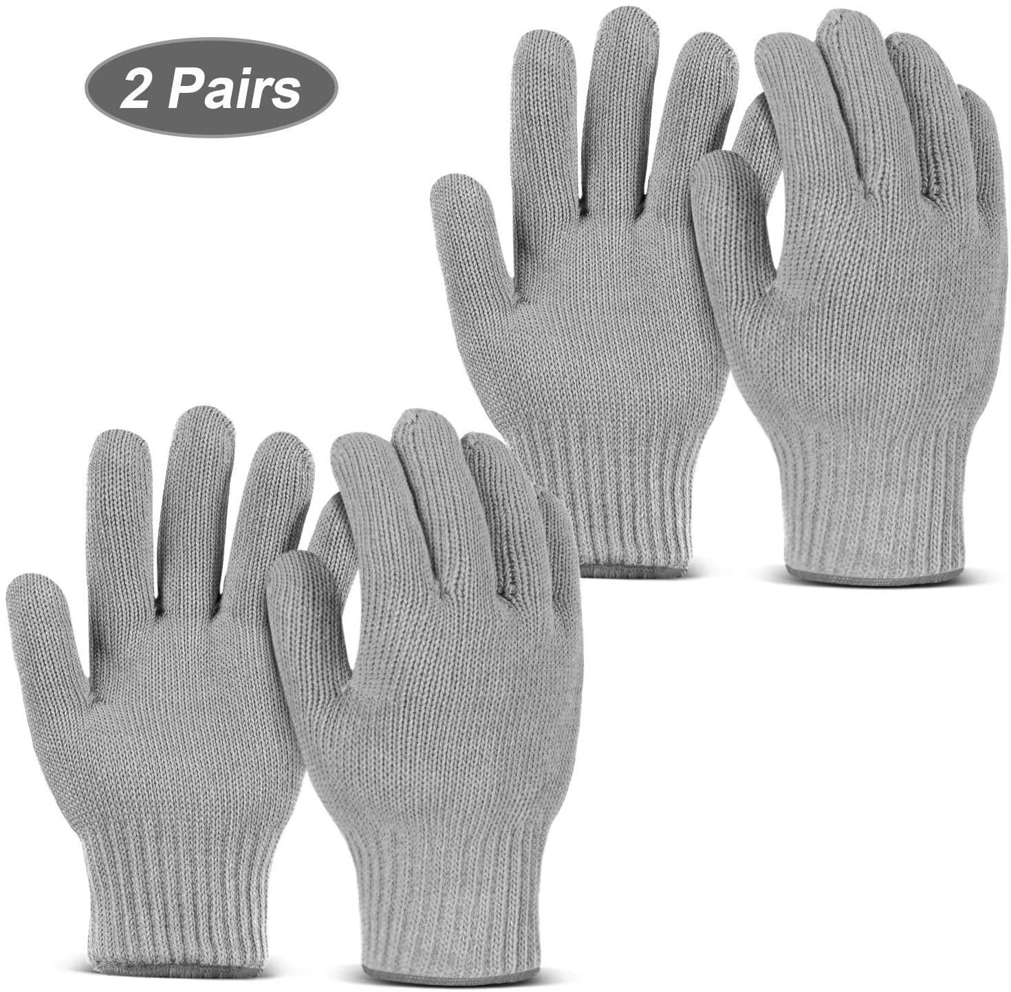 MAFORES Double Oven Mitts, Heat Resistant Kitchen Gloves Heat Resistant Gloves Oven Gloves Heat Resistant with Fingers for Kitchen Baking BBQ Grilling (Grey, 2)