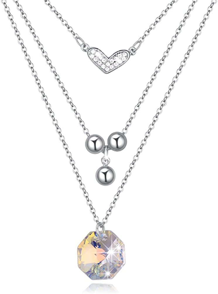 Youfir Love in My Heart Swarovski Crystals Chain Pendant Necklace for Woman Gifts