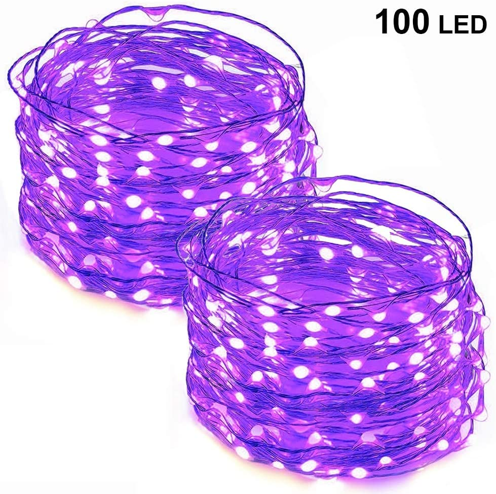 Twinkle Star 33FT 100 LED Copper Wire String Lights Halloween Lights Battery Operated LED String Lights for Christmas Wedding Party Home Holiday Decoration, Purple, 2 Pack