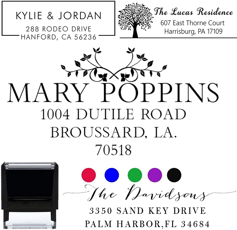 Customized Stamp Self-Inking Return Address Mail 4 Lines Custom Address Stamper Elegant Wedding Personalized Gift. Perfect Size for Mail Envelopes. Black Red Blue Purple Ink Address Stamp