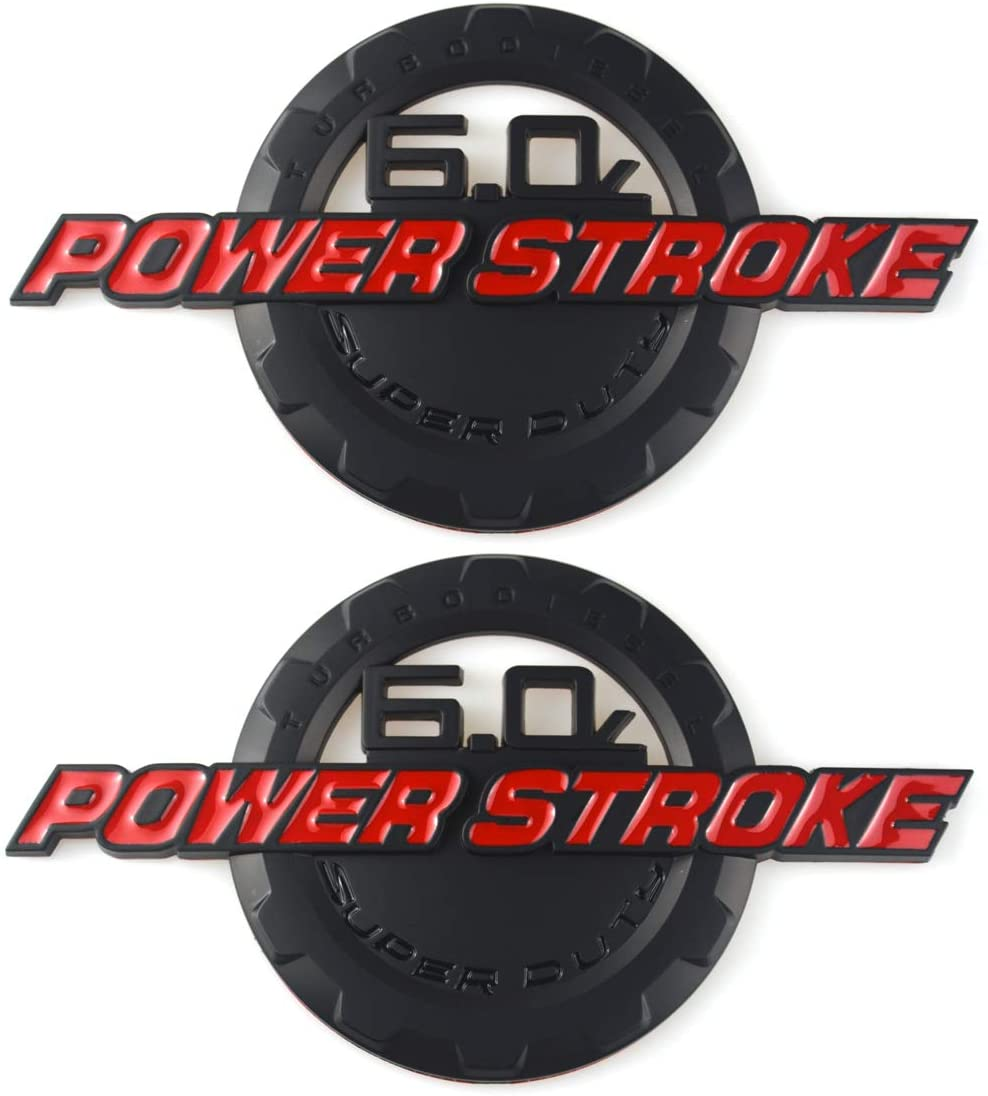 2 Pack 6.0L POWER STROKE SUPER DUTY Side Fender Emblems Badge Powerstroke 3D logo Compatible for Ford F250 F350 (Red)