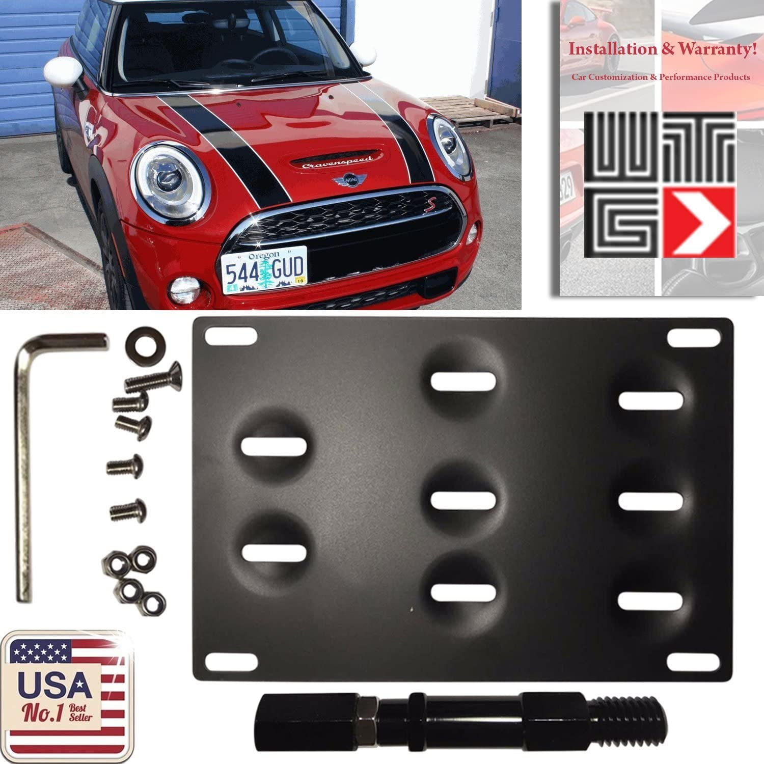 WTG Front Bumper Tow Hook Hole Adapter License Plate Mounting Bracket for Mini Cooper R60 Countryman R61 Paceman F55 F56