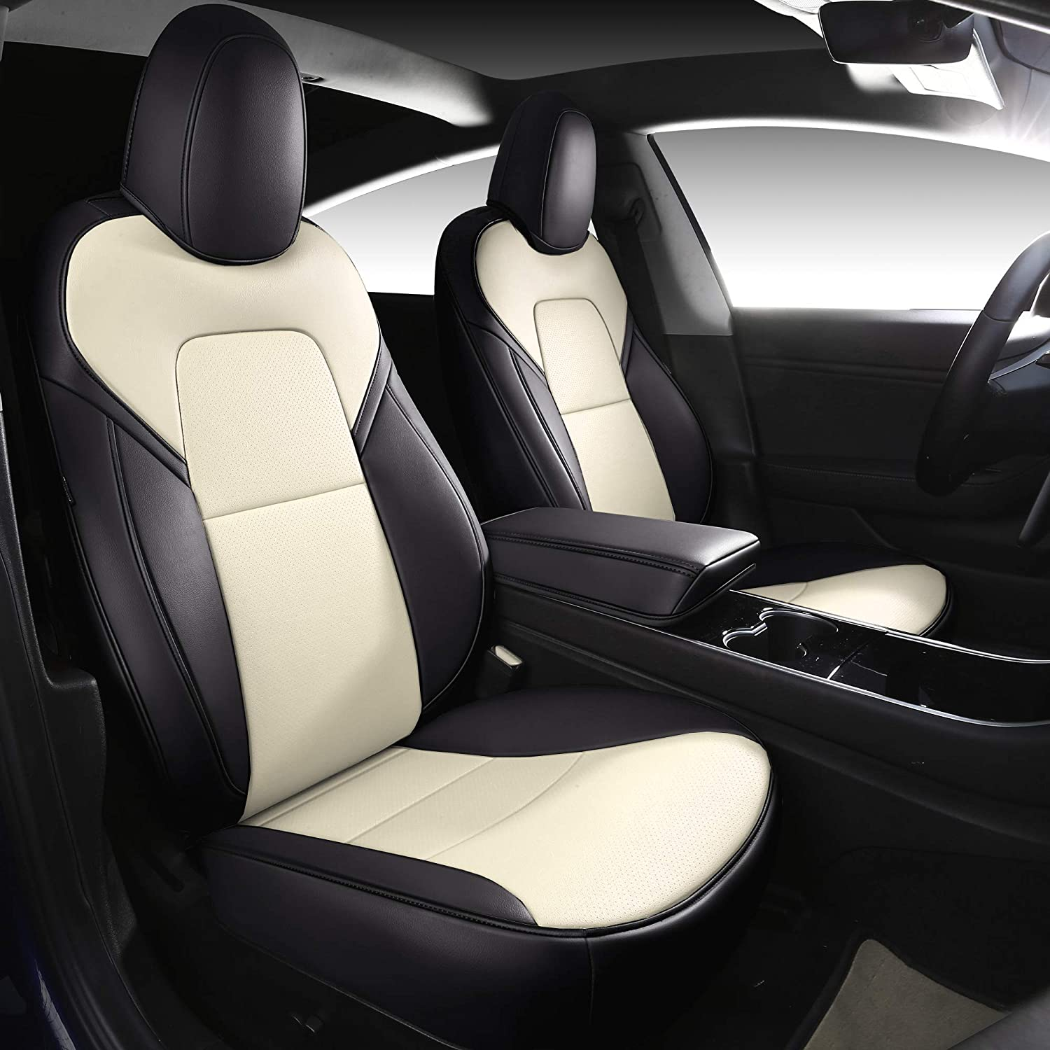 INCH EMPIRE Car Seat Cover for Tesla Model 3 PU Leather Seat Protector Custom Fit for Model 3 2017 2018 2019 2020 All Season(Black&Beige)