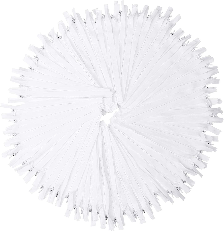 White Nylon Invisible Zipper for Sewing, 15 Inch Bulk Hidden Zipper Supplies; by Mandala Crafts