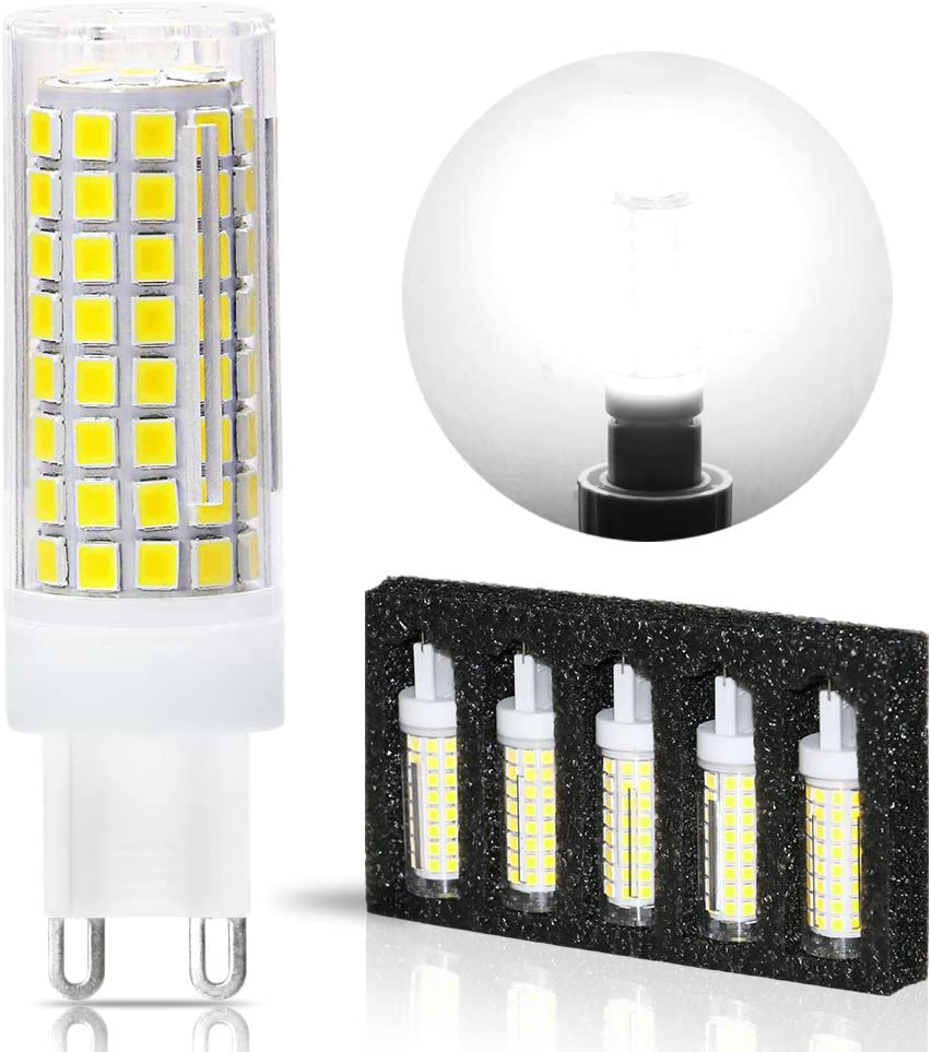 G9 LED Light Bulbs,8W,75W 100W Replacement Halogen Bulbs Equivalent 850lm,Dimmable g9 led Bulbs AC110V 120V 130 Voltage Input,G9 Bi-Pin Base Corn Bulb,G9 Base,Daylight White 6000K(Pack of 5)