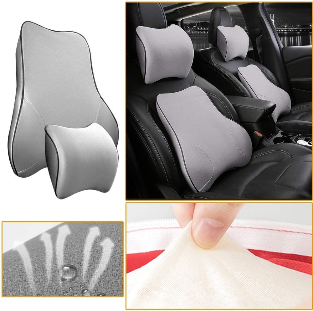 Muchkey Car Lumbar Support Back Cushion & Headrest Neck Pillow Kit Cushion Memory Foam Erognomic Design with Back Pain Relief for Renault Fluence Megane Laguna Latitude Koleos Clio Scenic(Gray)