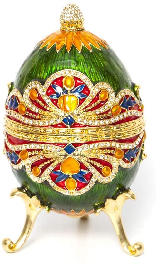 Faberge Box Decorative Enameled Eggs, 24K Gold Figurines with Swarovski Crystal (Large Green Egg)