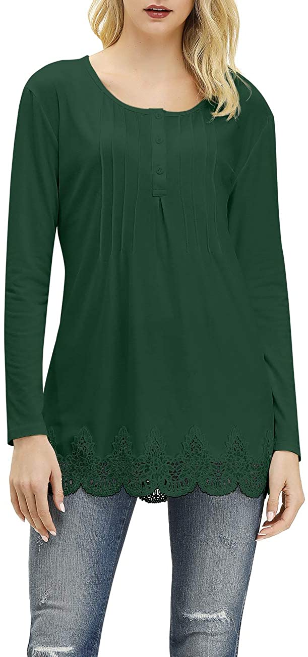 Cnokzol Women's Casual Long Sleeve Henley Shirts Fall Lace Crew Neck Tunic Tops Blouses