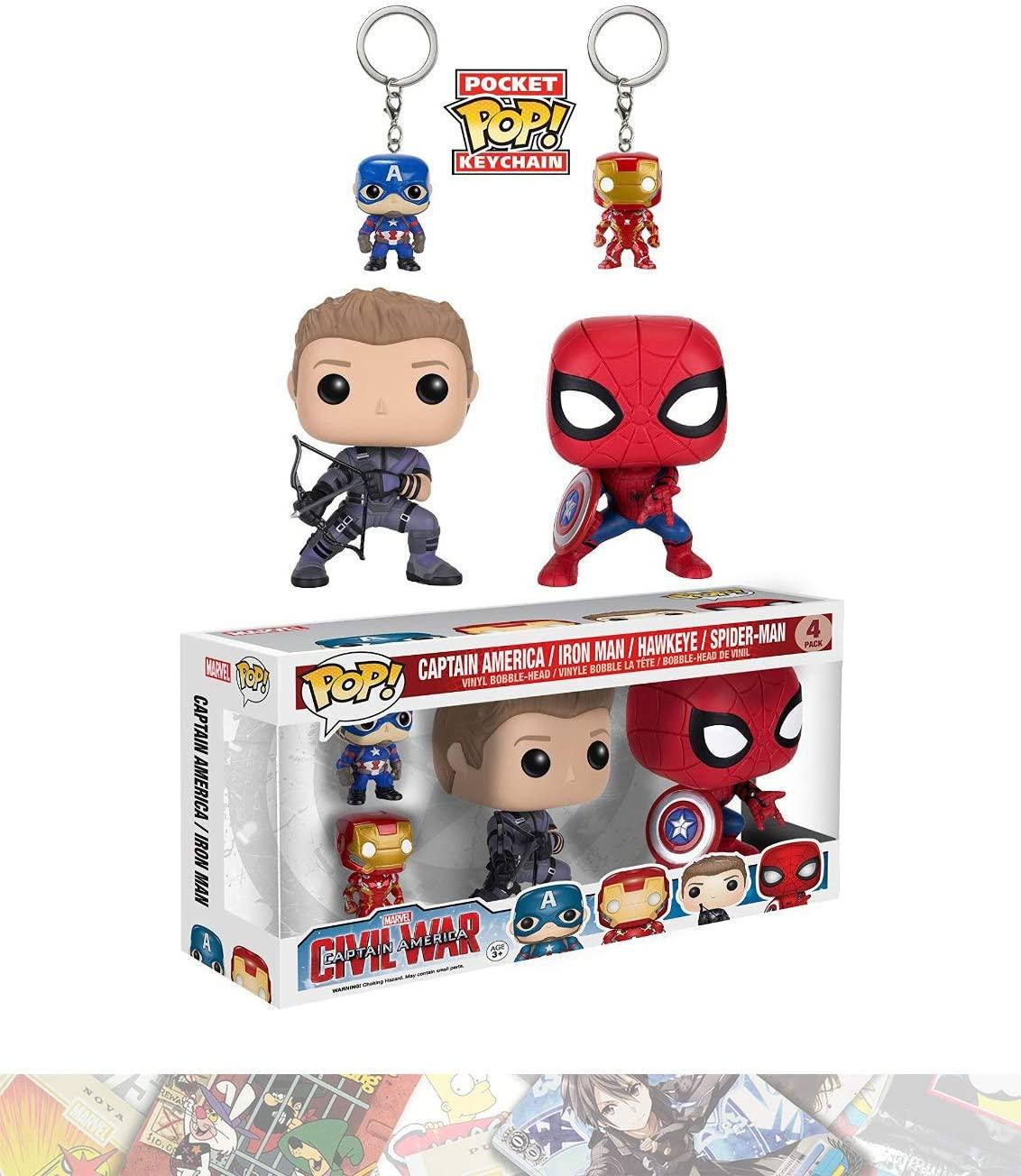 Captain America, Iron Man, Hawkeye, Spider-Man: Funko POP! & Pocket POP! x Captain America Civil War 4-Figure Pack + 1 FREE Official Marvel Trading Card Bundle (076047)