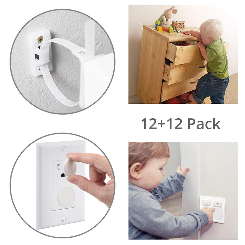 Tanice 12 Pack Furniture Straps Baby Proofing Furniture Anchors Anti Tip Kit Child Safety Straps with 12 Pack Outlet Covers Childproof Plug Protector for Bookshelf, Cabinet, Dresser