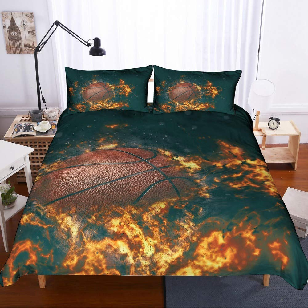 REALIN Basketball Duvet Cover Set Flame Basketball Bedding Youth Rebound Ice Fire Theme Bed Sets,2/3/4PCS Microfiber Quilt Covers/Sheets/Pillow Shams,Twin/Full/Queen/King Size