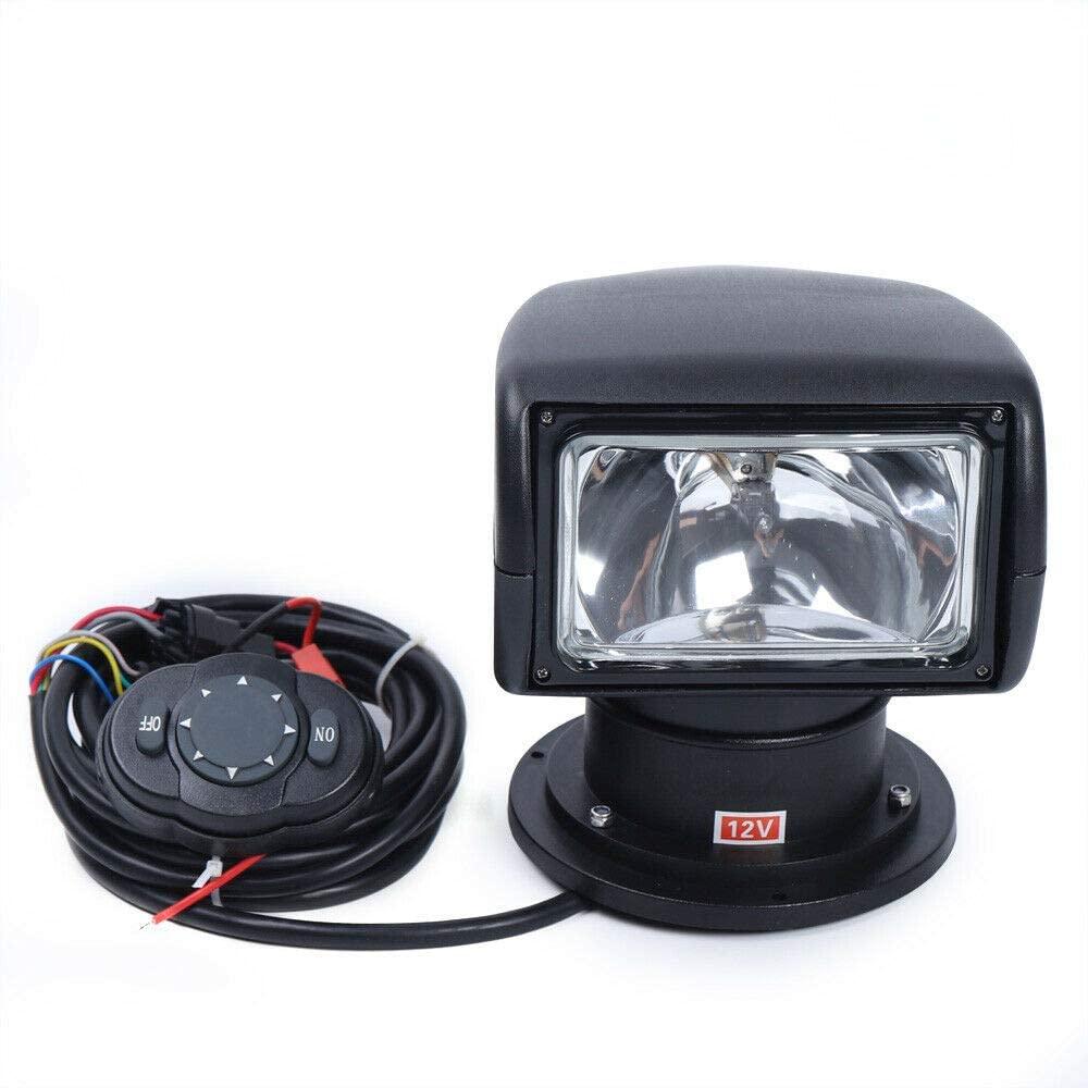 Meiney Search Light White/Black 100W Bulb Remote Control Spotlight for Boat Truck Car Marine Spotlight 2500LM 12V+RC (Black)