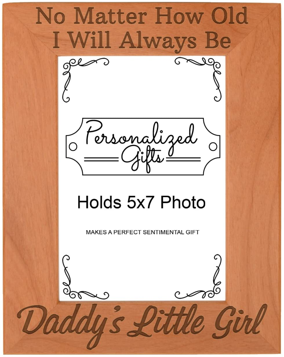 ThisWear from Daughter I'll Always Be Daddy's Little Girl Unique Gifts for Dad Natural Wood Engraved 5x7 Portrait Picture Frame Wood