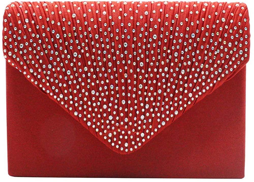 Women's evening handbags,sparkly rhinestone pleated satin evening handbag clutch for night out party wedding