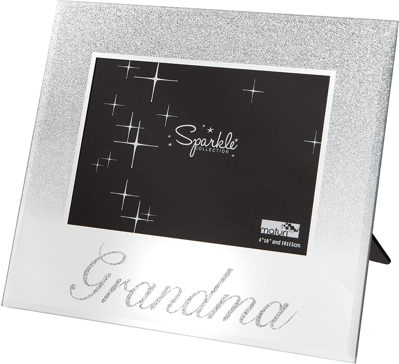 Maturi 490311 Grandma Mirrored Silver Glitter 6 x 4 Inch Photo Frame, 6x4