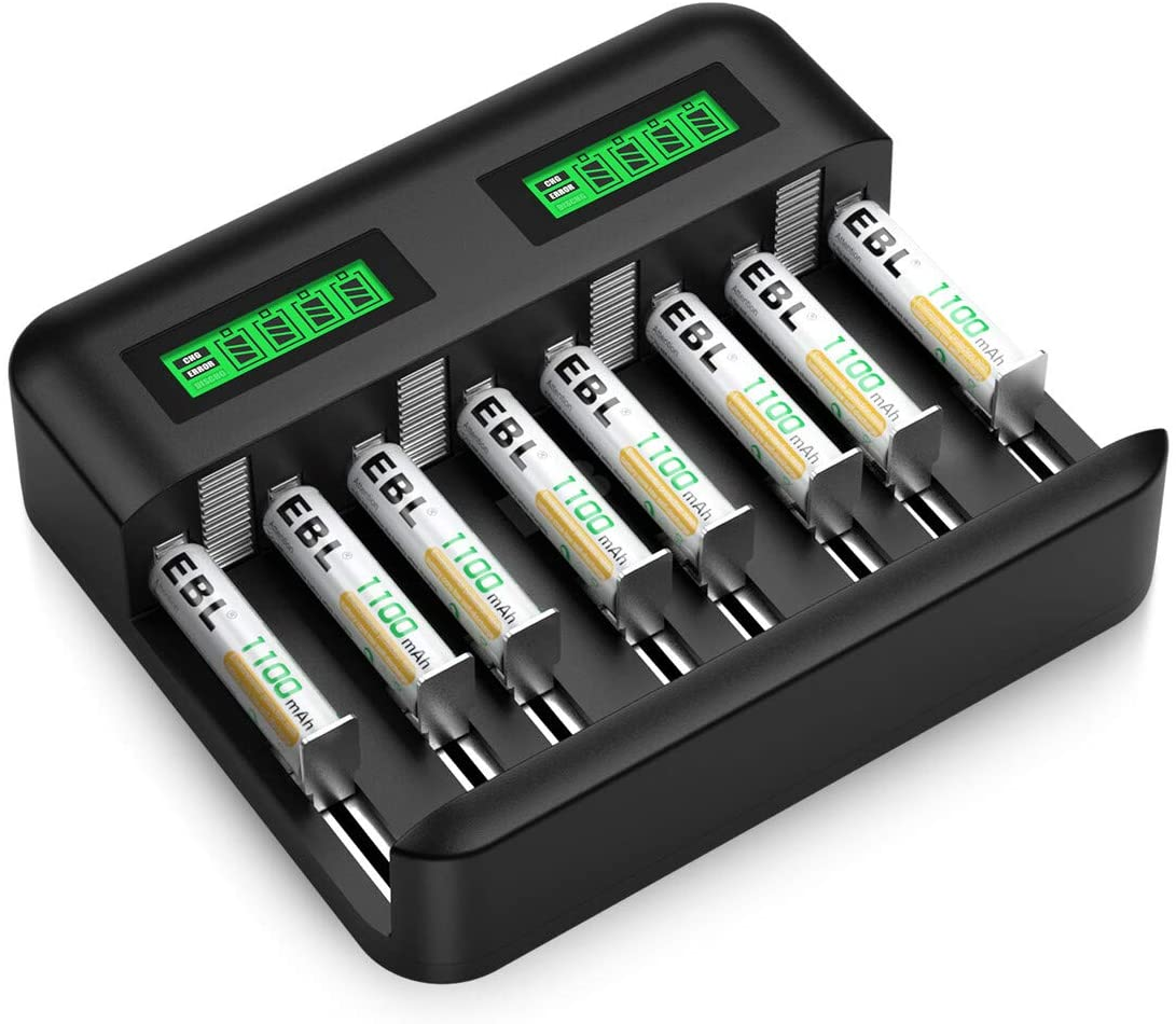 EBL Rechargeable AAA Batteries (8 Counts) with Individual LCD Battery Charger for AA AAA C D Rechargeable Batteries