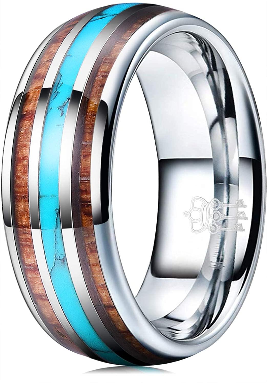 THREE KEYS JEWELRY 8mm Tungsten Wedding Ring Koa Wood Turquoise Inlay Vikings Hunting Band