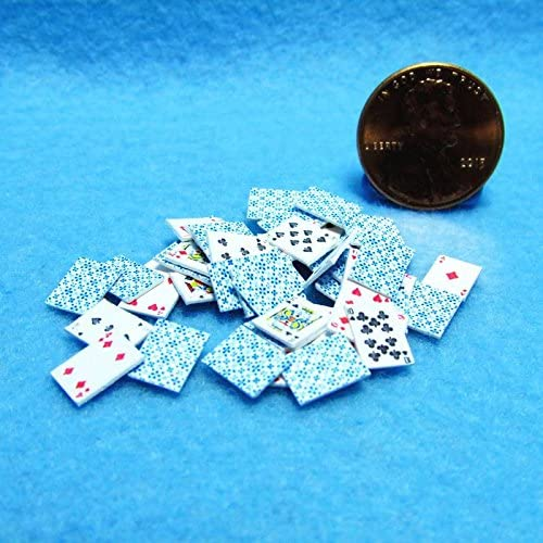 Dollhouse Miniature Playing Cards Set in Blue B - My Mini Fairy Garden Dollhouse Accessories for Outdoor or House Decor
