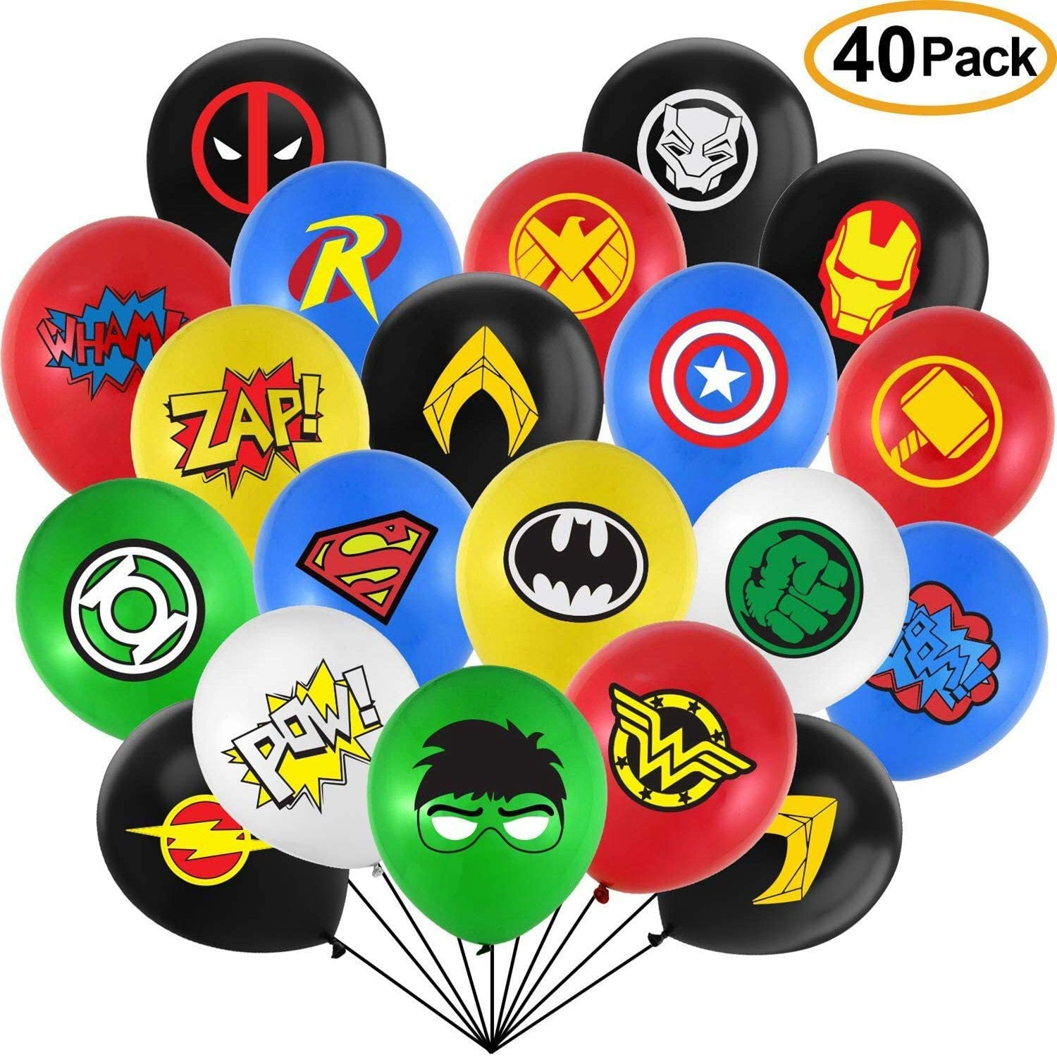 Miss Chen Superhero Party Supplies 40 Pack Superhero Balloons 12 Inches Latex Balloons Superhero Party Favors for Kids Birthday Party