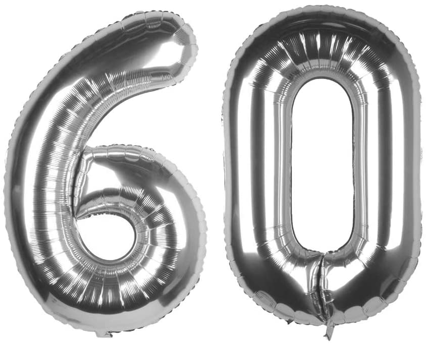 Tim&Lin 40 inch Silver 60 Number Jumbo Foil Mylar Helium Balloons - Party Decoration Supplies Balloons - Great for 60th Birthday or 60th Any Anniversary Parties Events
