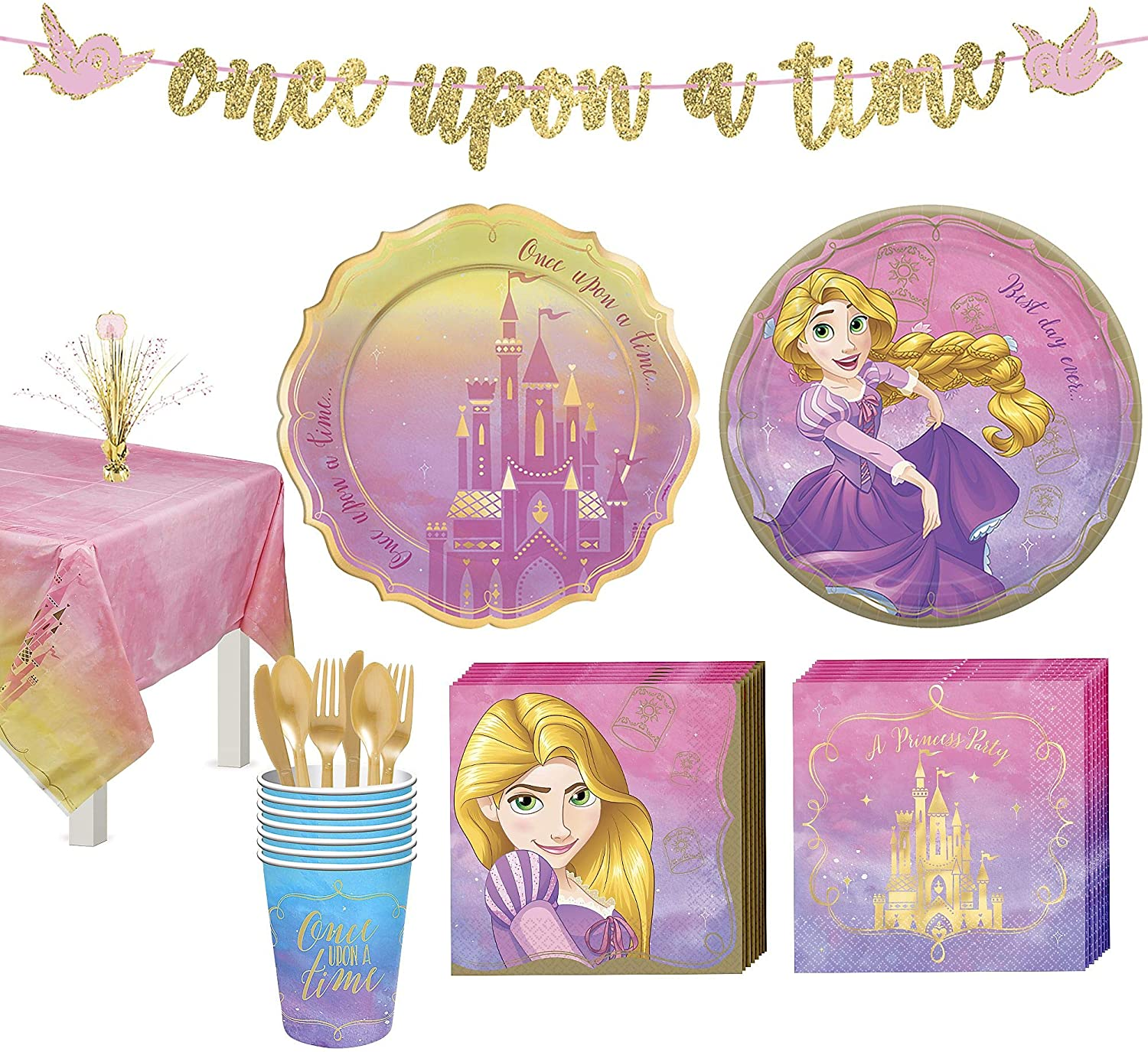 Party City Disney Princess Rapunzel Tableware Kit for 8 Guests, Includes Cups, Cutlery, Napkins, Plates, and Decor