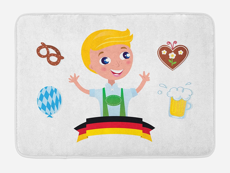 Ambesonne German Bath Mat, Bavarian Boy with Blonde Hair with Oktoberfest Beer Balloon and Pretzel, Plush Bathroom Decor Mat with Non Slip Backing, 29.5