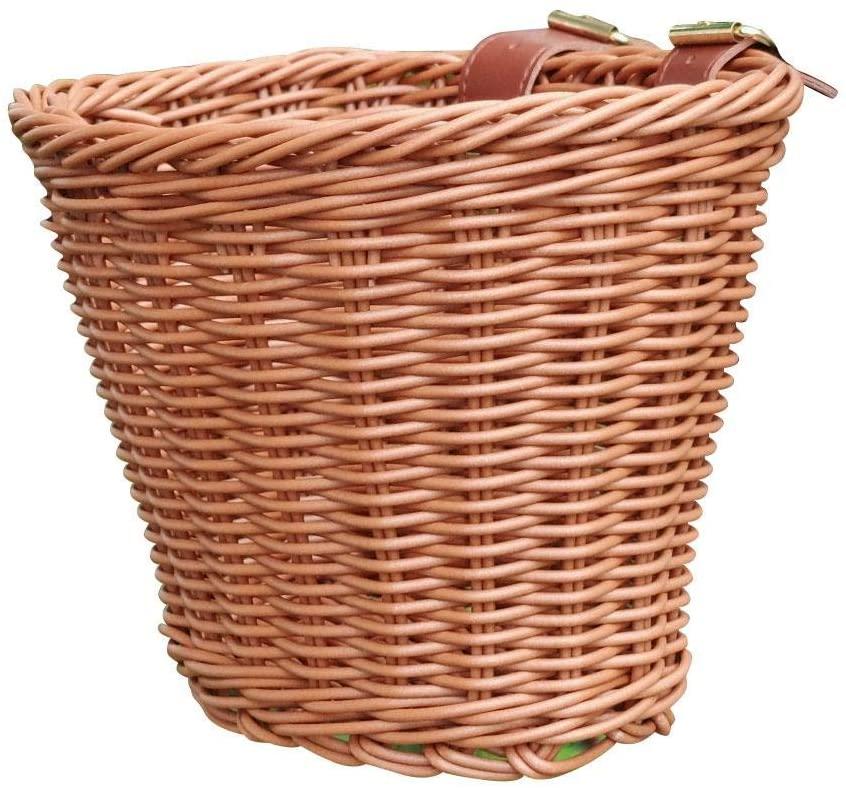 Per Newly Detachable Bike Basket, Front Handlebar Wicker Bike Basket, Hand-Woven Bicycle Handlebar Storage Basket with Leather Straps
