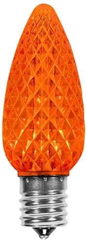 Festive Holiday Lights C9 Faceted LED Christmas and Holiday Retrofit Light Bulbs, Professional Grade, E17 Base (25, Orange)