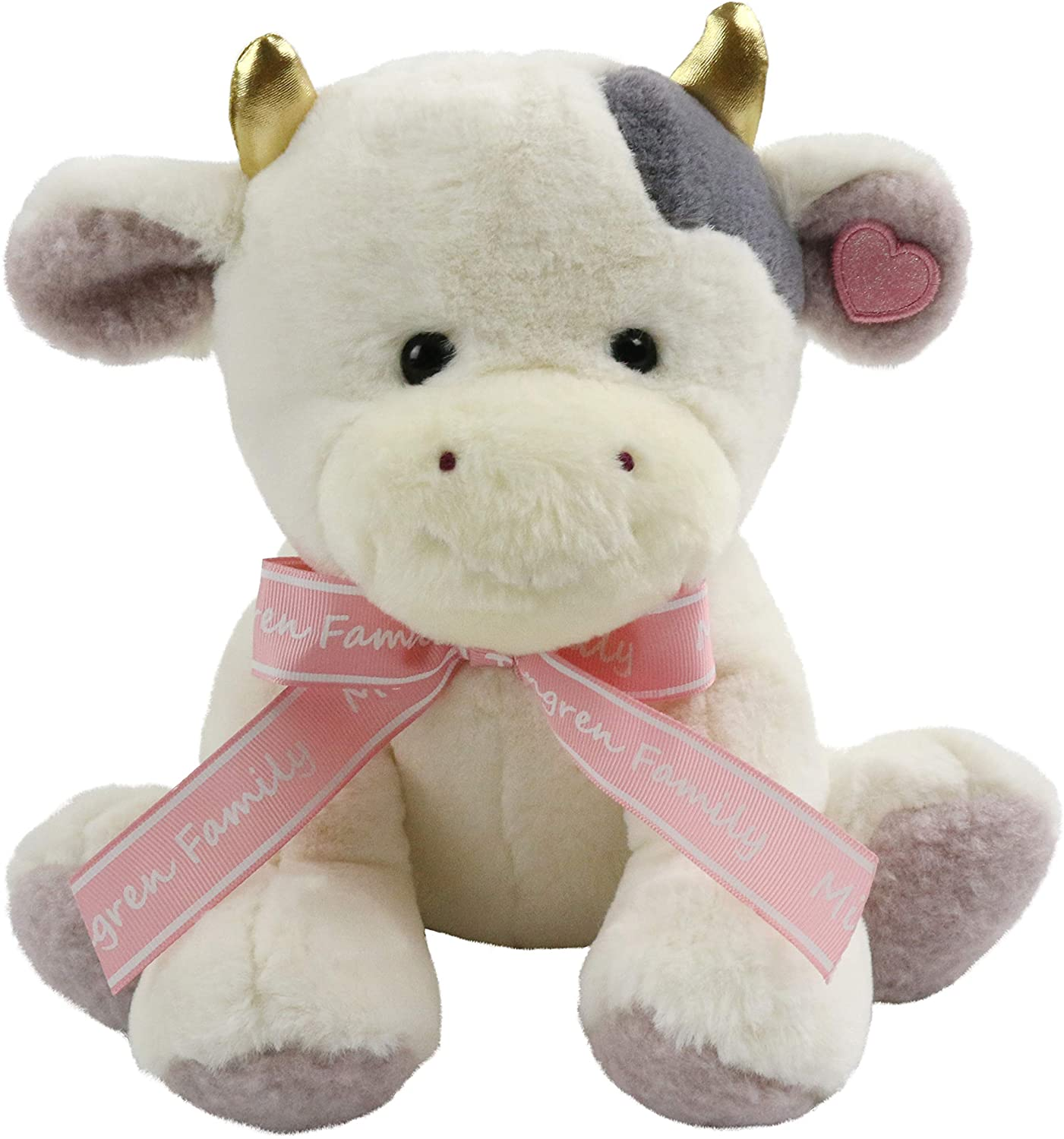 SpecialYou Plush Cow Stuffed Animals Cuddly Cozy Furry Toys Gift for Toddler Kids on Birthday Christmas Halloween, White, 10 Inches
