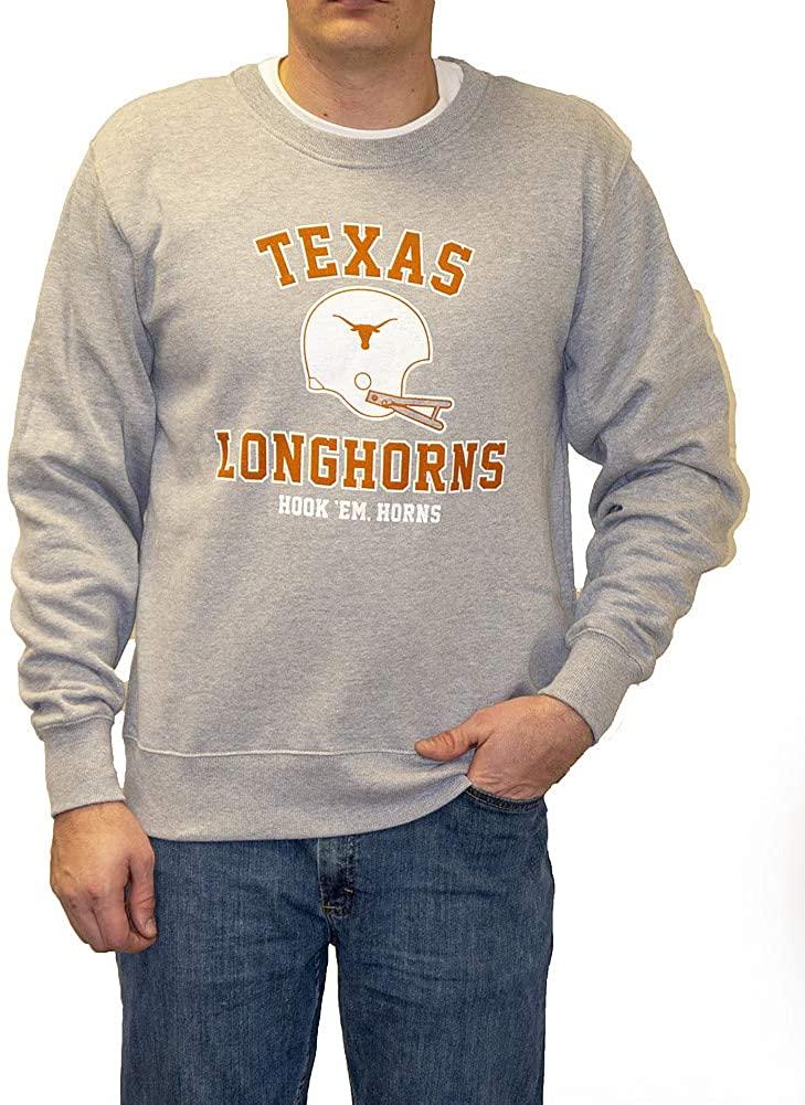 Elite Fan Shop Texas Longhorns Crewneck Sweatshirt Helmet Gray