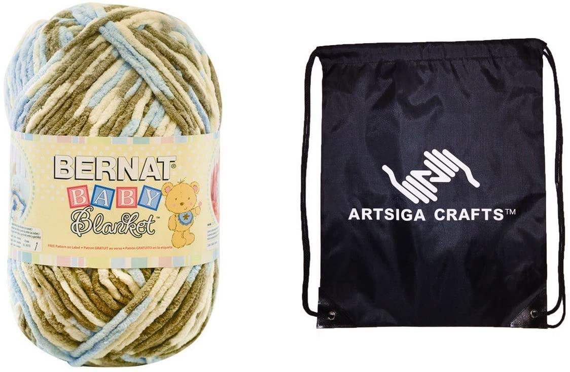 Bernat Knitting Yarn Baby Blanket Big Ball Little Cosmos 1-Skein Factory Pack 161104-4128 Bundle with 1 Artsiga Crafts Project Bag