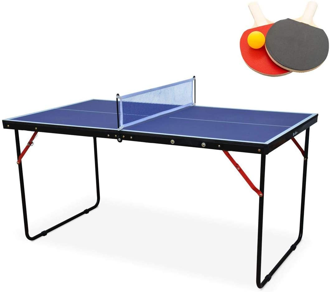 KL KLB Sport Midsize Table Tennis Table Game Set | Indoor/Outdoor Portable Ping Pong Table with Net and 2 Table Tennis Paddles