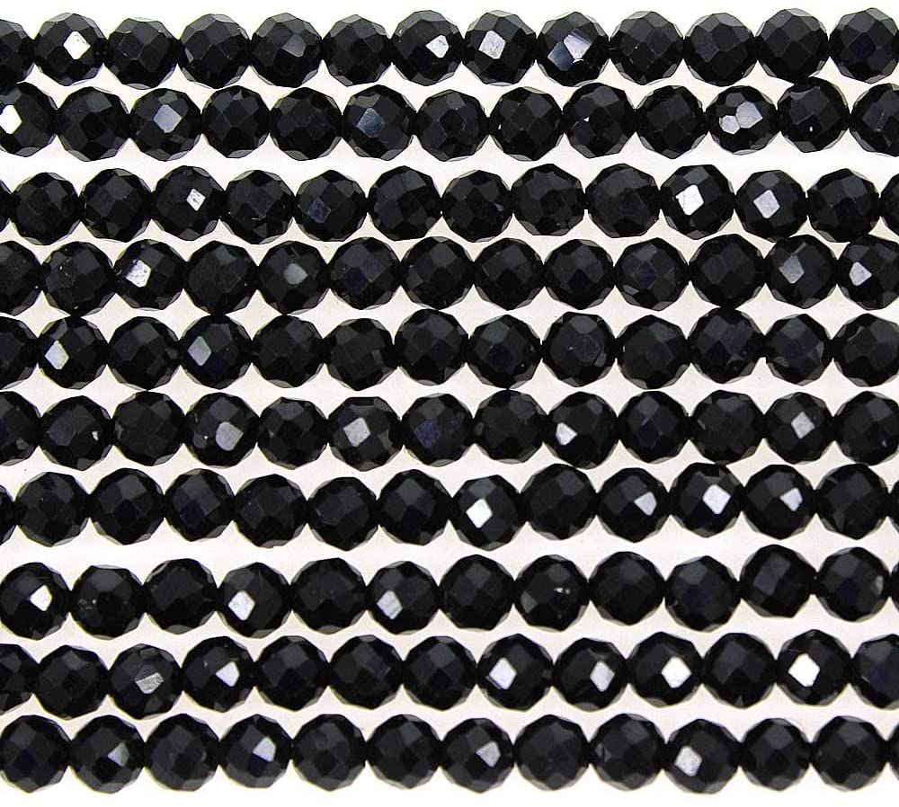MJDCB 3mm Faceted Natural Black Spinel Round Loose Beads for Jewelry Making DIY Bracelet Necklace