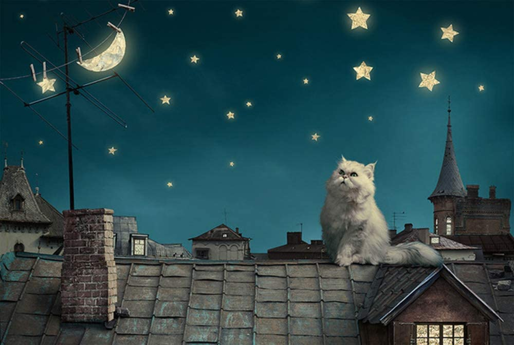 Cat Jigsaw Puzzles 1000 Pieces Wooden for Adults,Children Cute Cartoon Starry Night Jigsaw Large Puzzle Game Toys Gift DIY Collectibles Modern Room Decoration Hard Level Puzzle