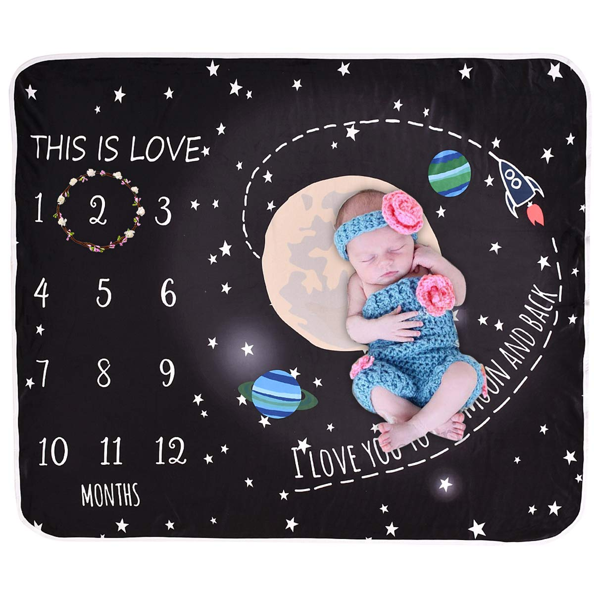 Yesbaby Universe Print Baby Monthly Milestone Blanket Toddler Photography Blanket Background Prop