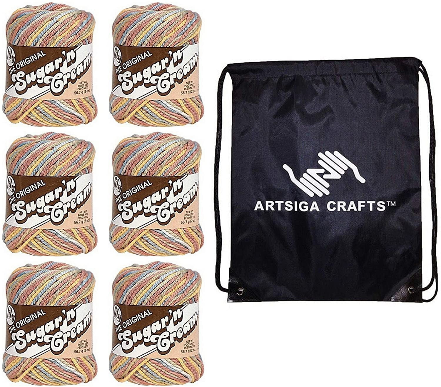 Lily Knitting Yarn Sugar N Cream Ombres Potpourri Print 6-Skein Factory Pack (95yd ea. Same Dyelot) 102002178 Bundle with 1 Artsiga Crafts Project Bag