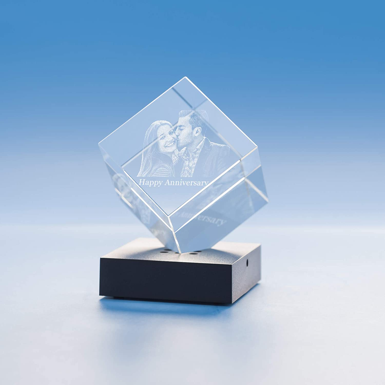 Cube Crystal, 3D Engraved - Small with Black Base