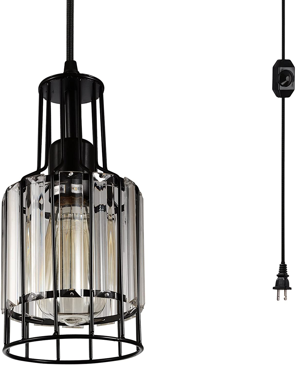 Creatgeek Plug in Industrial Pendant Light Fixture with 16.4'(Ft)Cord and in-Line On/Off Dimmer Switch, Unique Swag Hanging Crystal Lamp for Bar, Night Stand, Kitchen Island, Dining Room, Entryway