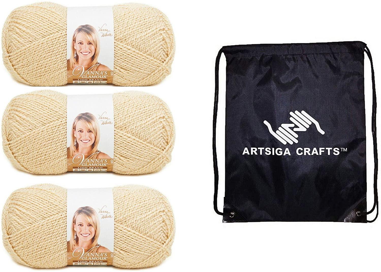 Lion Brand Knitting Yarn Vannas Glamour Topaz 3-Skein Factory Pack (Same Dye Lot) 861-170 Bundle with 1 Artsiga Crafts Project Bag
