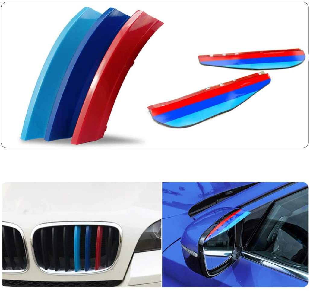 For 08-13 X5 E70 (7Grilles) M-Colored Stripe Grille Insert Trims M Sport Strips Center Kidney Grill+Rear View Mirror Eyebrow Frame Rainproof 5Pcs