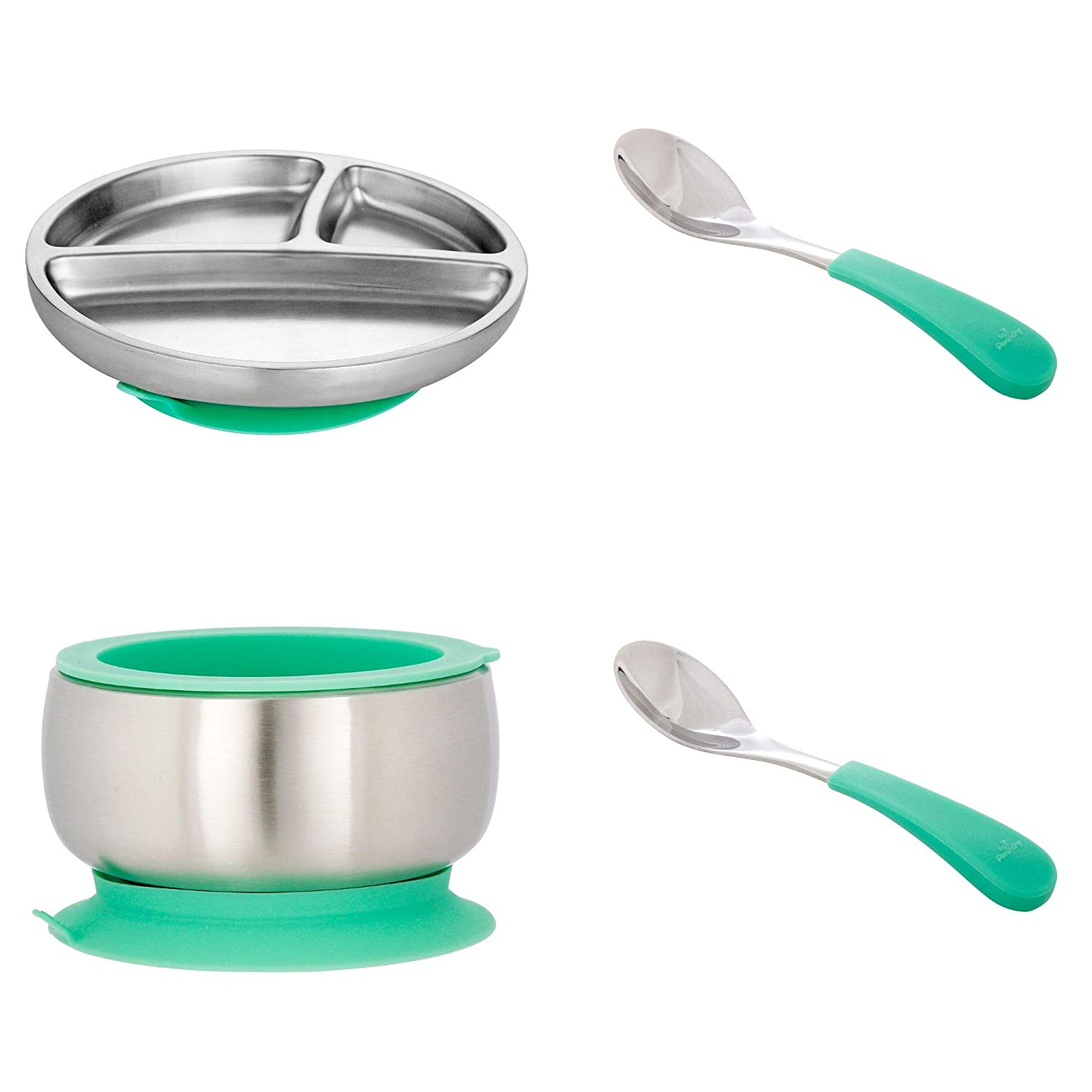 Avanchy Stainless Steel Baby, Toddler Feeding Divided Plate + Bowl + 2 Spoons Giftset. Infant, Kid or Child Gift. 18/8, BPA Free, BPS Free, Lead Free and Phthalate Free. Green Gift Set