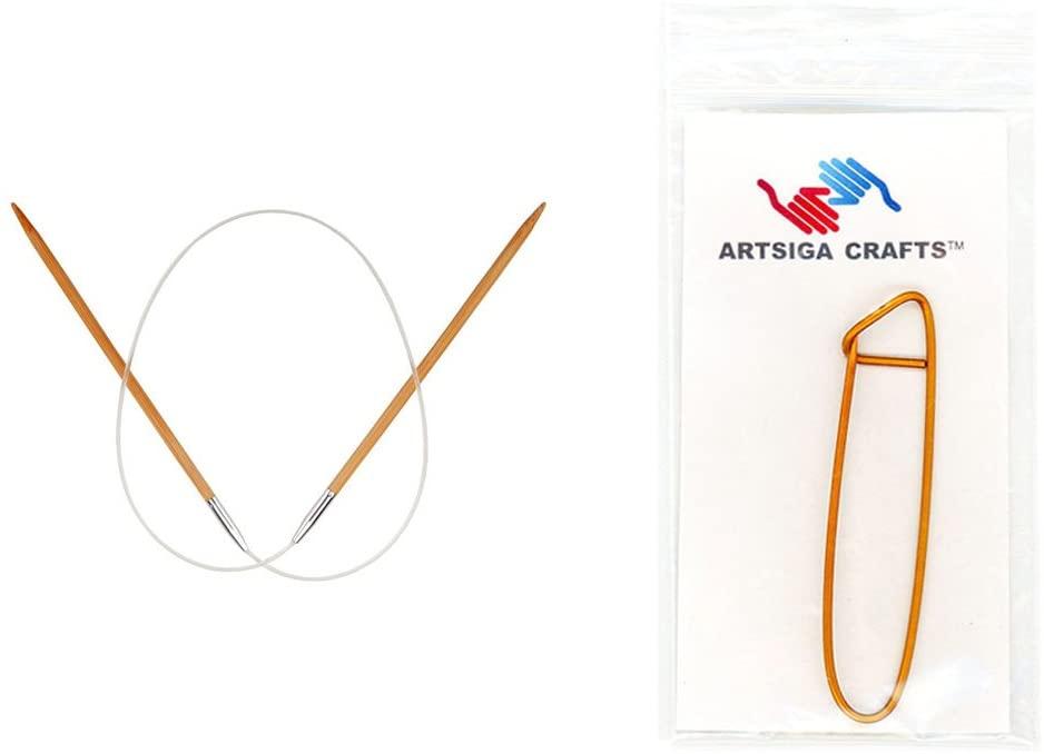 ChiaoGoo Knitting Needles Circular 24 inch (61cm) Bamboo Dark Patina Size US 9 (5.5mm) Bundle with 1 Artsiga Crafts Stitch Holder 2024-9