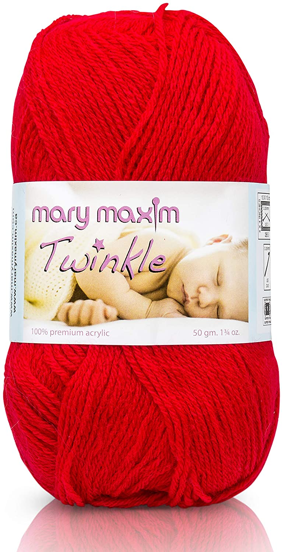 Mary Maxim Twinkle Yarn - 1 Super Fine Weight Baby Yarn for Knitting & Crochet Projects - Fingering Yarn - 100% Acrylic - 4 Ply - 230 Yards - 1.75 oz (Cardinal)