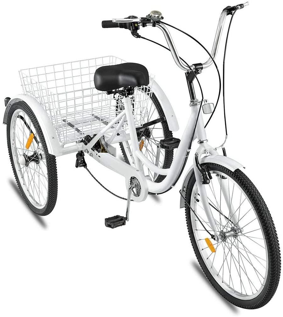 PUTEARDAT Tricycle Bike 1/7 Speed,Adult Trikes 24In 3 Wheel Bikes, Three-Wheeled Bicycles Cruise Trike with Shopping Basket Cargo Basket for Seniors, Women, Men,Kids