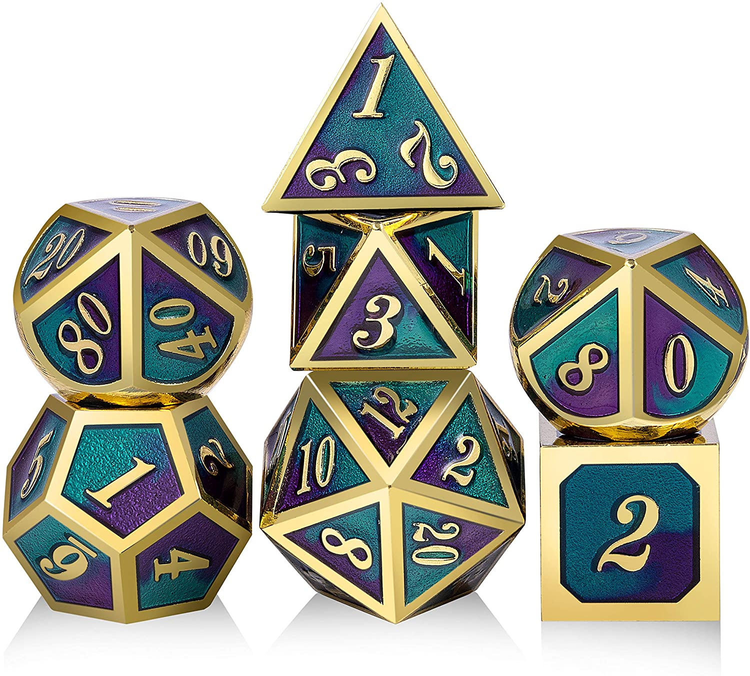 Double Colors Metal DND Dice,DNDND Polyhedral Metal Game Dice for D&D Role Playing Game Dugeons and Dragons(Blue and Purple with Golen Number)