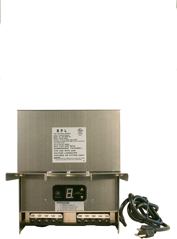 600 Watt Transformer Multi Tap 120 Volt AC to 12-15V Volt LED & Halogen - Low Voltage Landscape Lighting Outdoor/Indoor Weatherproof Power Pack w Digital Timer, Photocell Sensor - Stainless Steel