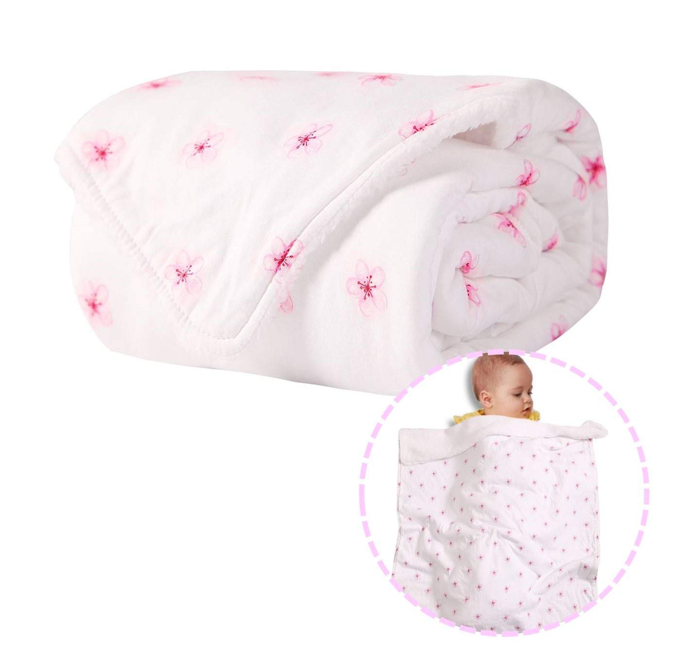 Little Grape Land Pink Floral Plush Baby Blanket, Jersey Cotton Front with Sherpa Back Minky Baby Blanket,One Size 30x40IN, Soft Swaddling Blanket for Newborn Girls, Ideal Infant Shower Gift